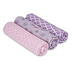 Lassig Large 3-Pack Fawn Swaddle & Burp Blankets in Pink