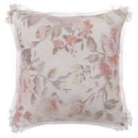 Bed Inc. Antoinette Floral Square Throw Pillow in Orange