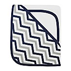 TL Care® 2-Piece Zigzag Hooded Towel Set Made with Organic Cotton in Dark Navy