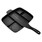 MasterPan 15-Inch Nonstick 5-Section Meal Skillet in Black