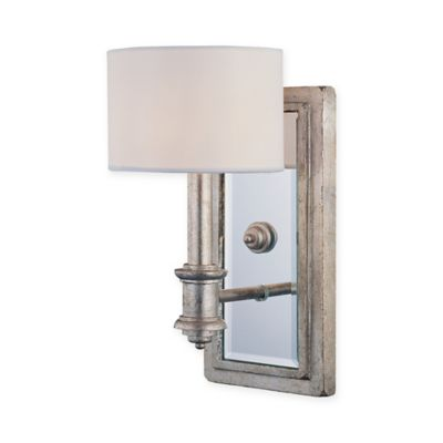Caracas Wall Mount Light Sconce In Bark With White Shade