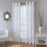 Crushed Voile 144 Inch Grommet Top Sheer Window Curtain Panel In White