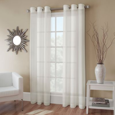 Crushed Voile 72 Inch Grommet Top Sheer Window Curtain Panel In Ivory