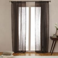 Open Weave Linen Sheer 108-Inch Rod Pocket Window Curtain Panel in Chocolate