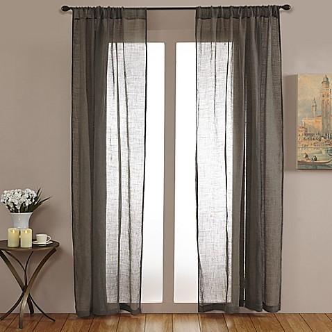 Buy open weave linen sheer 84 inch rod pocket window for Linen sheer window panels