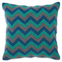 Kathy Ireland Home® by Gorham Chevron Square Throw Pillow in Blue/Grey