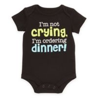 "Baby Starters® Babies with Attitude Size 9M ""Ordering Dinner"" Short Sleeve Bodysuit in Black"