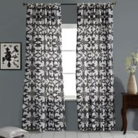 Linen Geo Print Embroidered 84-Inch Rod Pocket/Back Tab Window Curtain Panel in White/Grey