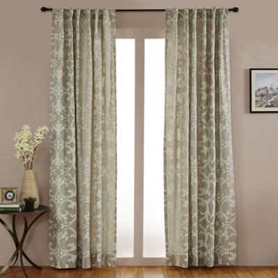 Linen Geo Print Embroidered 108 Inch Rod Pocket/Back Tab Window Curtain  Panel In