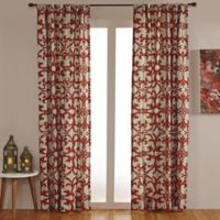 Linen Geo Print Embroidered 108-Inch Rod Pocket/Back Tab Window Curtain Panel in Natural/Orange