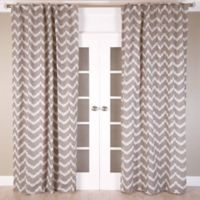 Chevron Jacquard 108-Inch Rod Pocket/Back Tab Window Curtain Panel in Brown/Ivory