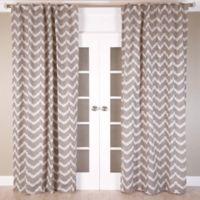 Chevron Jacquard 96-Inch Rod Pocket/Back Tab Window Curtain Panel in Brown/Ivory