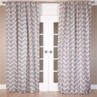 Chevron Jacquard 96-Inch Rod Pocket/Back Tab Window Curtain Panel in Grey/Ivory