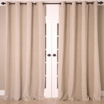 Linen Stripe Vertical Stripe 96 Inch Grommet Top Window Curtain Panel In  Natural/Ivory