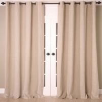 Linen Stripe Vertical Stripe 108-Inch Grommet Top Window Curtain Panel in Natural/Ivory
