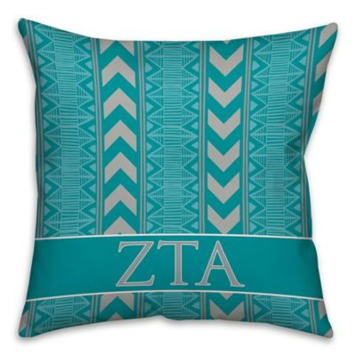 Zeta Tau Alpha Greek Sorority 16 Inch Throw Pillow In Teal