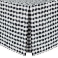 Gingham Poly Check Indoor/Outdoor Fitted 8-Foot Tablecloth in Black/White