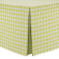 Gingham Poly Check Indoor/Outdoor Fitted 6-Foot Tablecloth in Lemon/White
