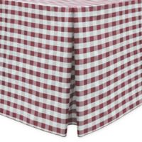 Gingham Poly Check Indoor/Outdoor Fitted 6-Foot Tablecloth in Burgundy/White