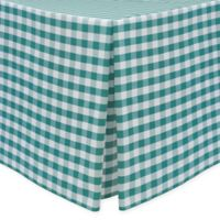 Gingham Poly Check Indoor/Outdoor Fitted 6-Foot Tablecloth in Teal/White