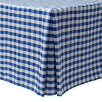Gingham Poly Check Indoor/Outdoor Fitted 6-Foot Tablecloth in Royal/White