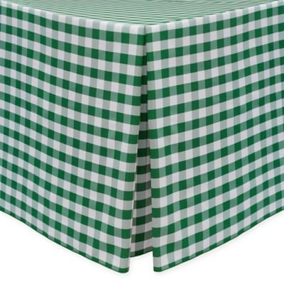 Gingham Poly Check Indoor/Outdoor Fitted 6 Foot Tablecloth In Moss/White