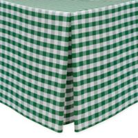Gingham Poly Check Indoor/Outdoor Fitted 6-Foot Tablecloth in Moss/White