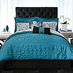 Christian Siriano Relaxed Crinkle Full/Queen Comforter Set in Teal
