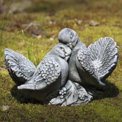 Campania Small Dove Pair Garden Statue in Alpine Stone