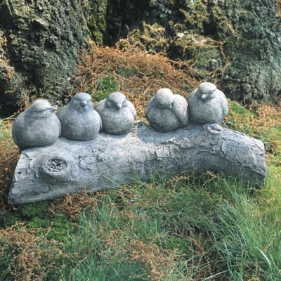 Campania Birds On A Log Garden Statue In Greystone