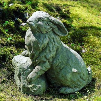 Campania Rabbit On A Rock Garden Statue In Greystone