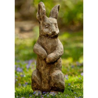 Campania Father Rabbit Garden Statue in Brownstone