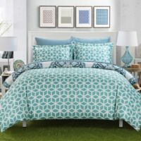Chic Home Majorca 3-Piece Reversible Full/Queen Duvet Cover Set in Green