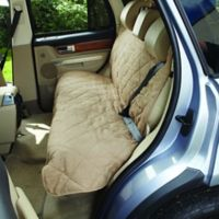Soft Suede and Sherpa Reversible Medium Auto Bench Seat Pet Cover in Taupe/Cream