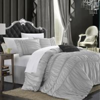 Chic Home Roning 8-Piece King Duvet Cover Set in Silver