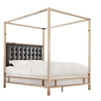 Verona Home Indio Champagne Gold Queen Upholstered Canopy Bed in Black