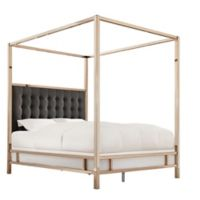 Verona Home Indio Champagne Gold Queen Upholstered Canopy Bed in Dark Grey