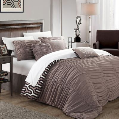 chic home emelia 7piece reversible king duvet cover set in brown - Comforter Covers