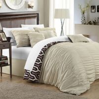 Chic Home Emelia 3-Piece Reversible King Duvet Cover Set in Beige