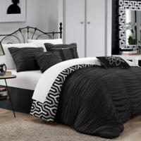 Chic Home Emelia 7-Piece Reversible Queen Duvet Cover Set in Black