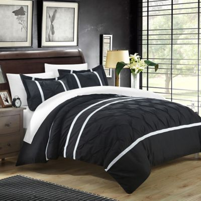 chic home nica 3piece king duvet cover set in black
