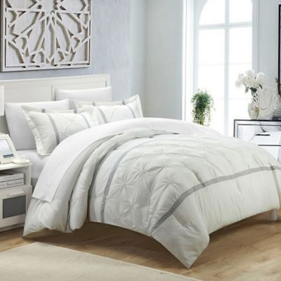 Chic Home Nica 3 Piece Queen Duvet Cover Set In White