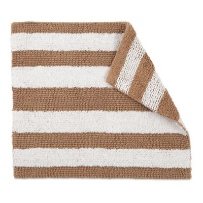 Izod® 24 Inch X 17 Inch Reversible Striped Bath Rug In Tan/