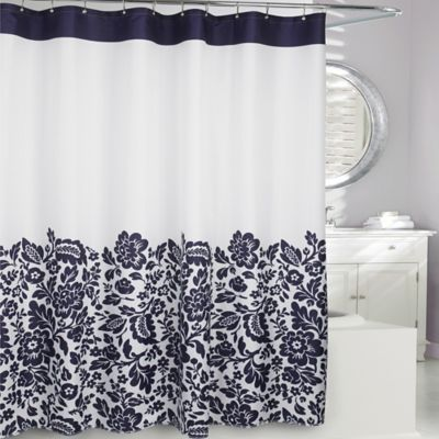 navy and cream shower curtain. Moda at Home Bella Fabric Shower Curtain in Navy Buy Curtains from Bed Bath  Beyond