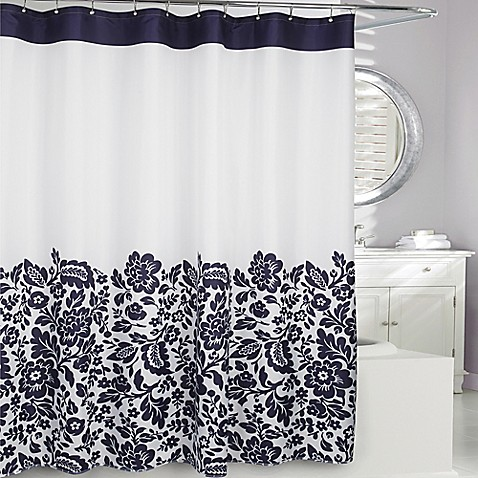 Buy Moda At Home Bella Fabric Shower Curtain In Navy From