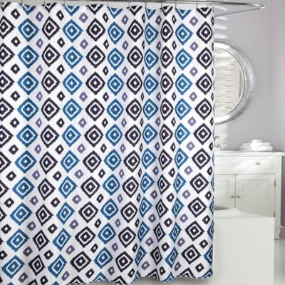 Moda At Home Ikat Diamond Fabric Shower Curtain In Blue