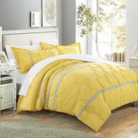 Chic Home Nica 7-Piece Queen Duvet Cover Set in Yellow