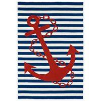 Kaleen Sea Isle Anchor 2-Foot x 3-Foot Indoor/Outdoor Accent Rug in Navy