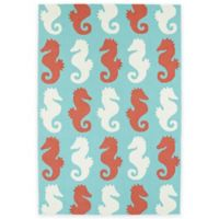 Kaleen Sea Isle Seahorses 2-Foot x 3-Foot Multicolor Indoor/Outdoor Accent Rug