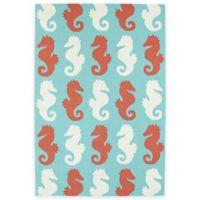 Kaleen Sea Isle Seahorses 3-Foot x 5-Foot Multicolor Indoor/Outdoor Area Rug